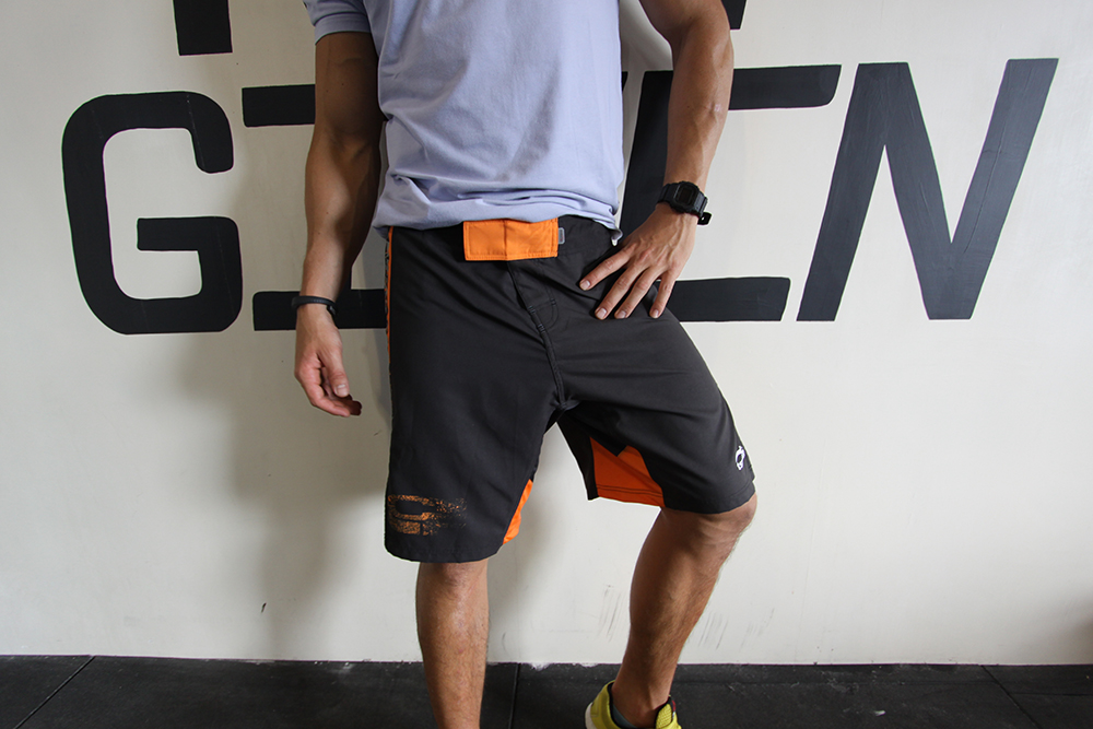 MMA Shorts - Orange-Black Graphic Front